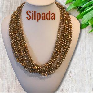 Silpada• Copper Freshwater Pearl Multi Strand